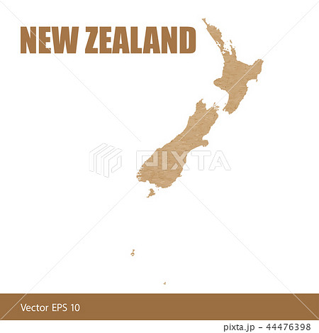 Detailed map of New Zealand cut out of craft paper 44476398