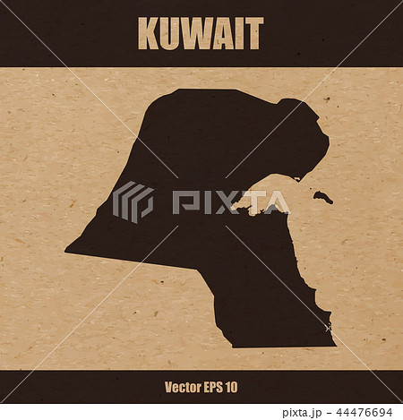 Detailed map of Kuwait on craft paper 44476694
