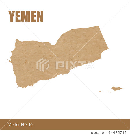 Detailed map of Yemen cut out of craft paper 44476715