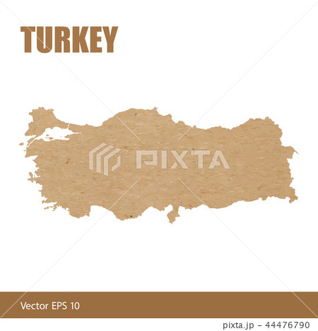Detailed map of Turkey cut out of craft paper 44476790