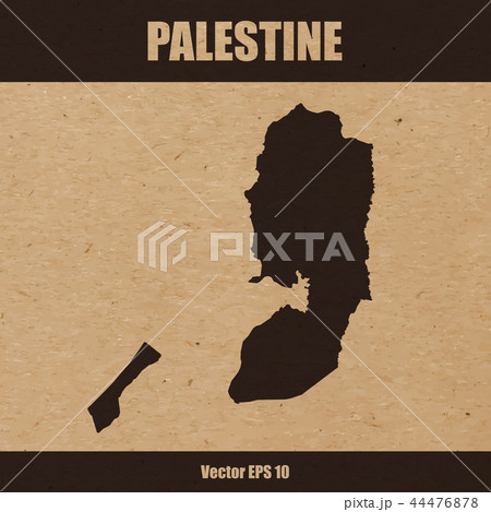 Detailed map of Palestine on craft paper 44476878