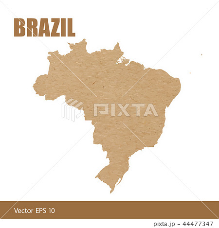 Detailed map of Brazil cut out of craft paper 44477347