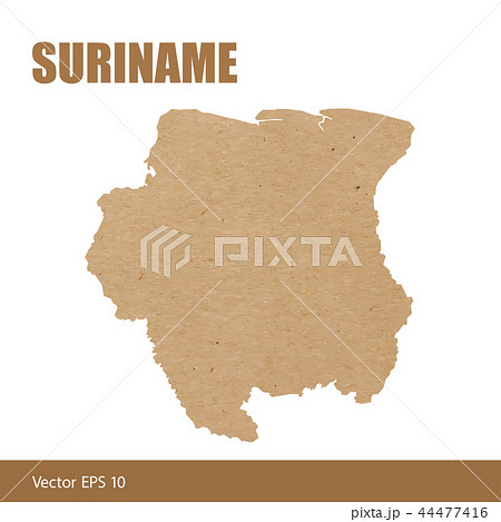 Detailed map of Suriname cut out of craft paper 44477416