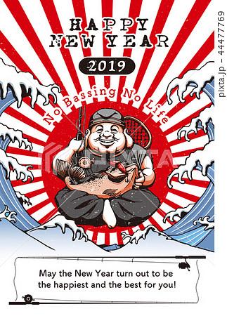 2019年賀状「バスフィシングの神様」ハッピーニューイヤー 英語添え書き付き