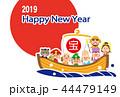 2019 ハッピーニューイヤー 日の丸 七福神の宝船 テンプレート 44479149