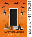 Entrance door decorated for Halloween night party 44479154