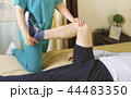 Physiotherapist doing exercises for leg recovery  44483350