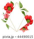 Watercolor red brugmansia flower. Floral botanical flower. Frame border ornament square. 44490015