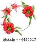 Watercolor red brugmansia flower. Floral botanical flower. Frame border ornament square. 44490017