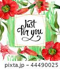 Watercolor red brugmansia flower. Floral botanical flower. Frame border ornament square. 44490025