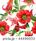 Watercolor red brugmansia flower. Floral botanical flower. Seamless background pattern. 44490033