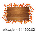 ブラウン色の看板とそれを囲む葉っぱ (PNG、切り抜き素材) 44490282