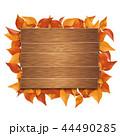 ブラウン色の看板とそれを囲む葉っぱ (PNG、切り抜き素材) 44490285