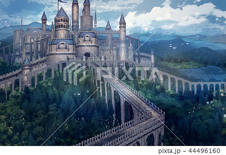 お城遠景 背景 ファンタジーのイラスト素材