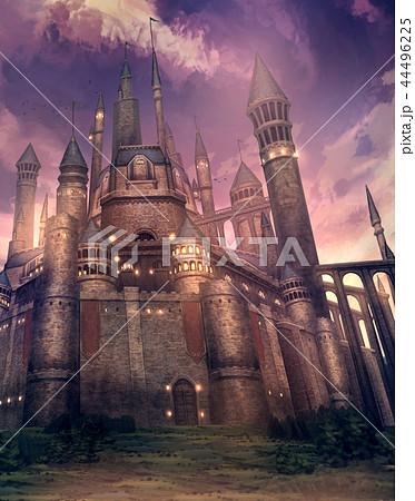 お城夕景 背景 ファンタジーのイラスト素材 44496225 Pixta