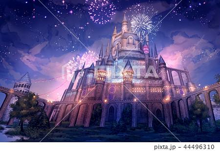お城_夜景 背景 ファンタジー 44496310