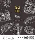 Menu Fast Food Set Sketch Vector Illustration 44496455