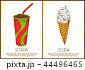 Soft Drink and Ice Cream Colorful Vector Poster 44496465