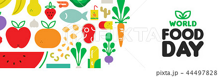 Food Day web banner with fruit and vegetable icons 44497828