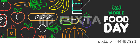 World Food Day web banner of outline icons 44497831