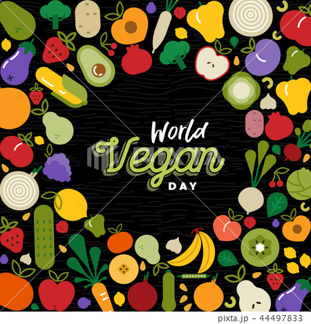World Vegan Day card with vegetable icons 44497833