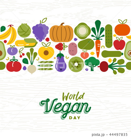 Vegan Day card pattern of fruit and vegetables 44497835
