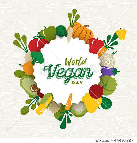World Vegan Day card with vegetable icons 44497837