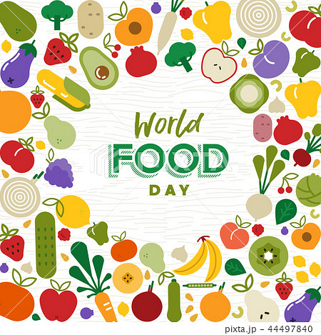 World Food Day card with vegetables and fruit 44497840