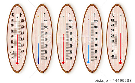 Vector set of realistic liquid thermometers with celsius and fah 44499288