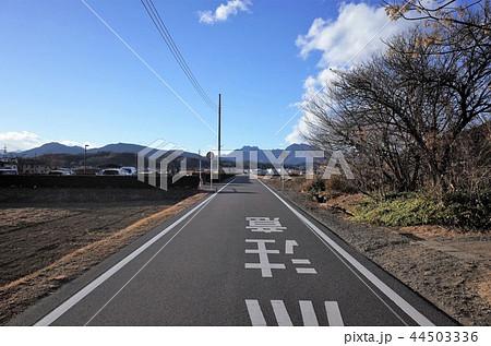 田舎の一本道、美しい景色、群馬県松井田町 44503336