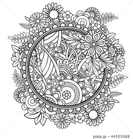 Floral Mandala Patternのイラスト素材 44505088 Pixta