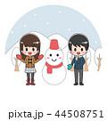 雪だるま 人物 冬 丸型 44508751
