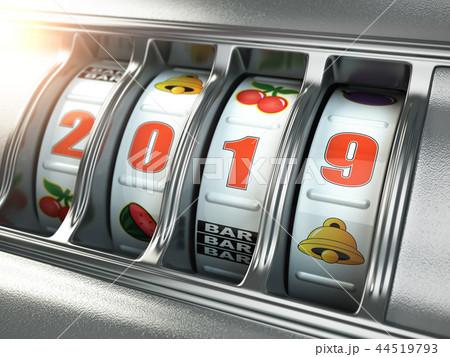 Happy New Year 2019 in casino. Slot machine 44519793