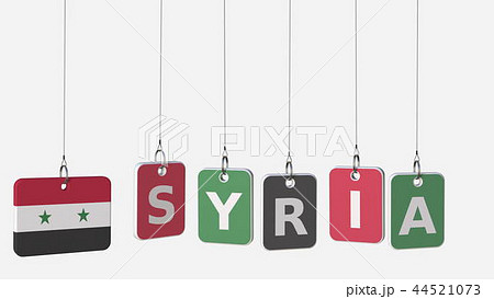 SYRIA caption and Syrian flag on swinging plates, 3D rendering 44521073