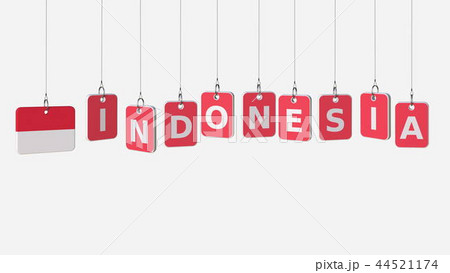 INDONESIA caption and Indonesian flag on swinging plates, 3D rendering 44521174
