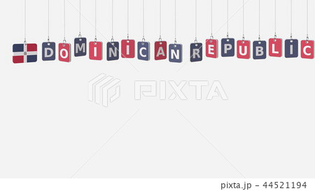 DOMINICAN REPUBLIC caption and flag on swinging plates, 3D rendering 44521194