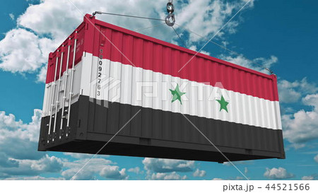 Cargo container with flag of Syria. Syrian import or export related conceptual 3D rendering 44521566