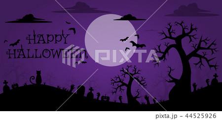 silhouette halloween cartoon background wallpaperのイラスト素材