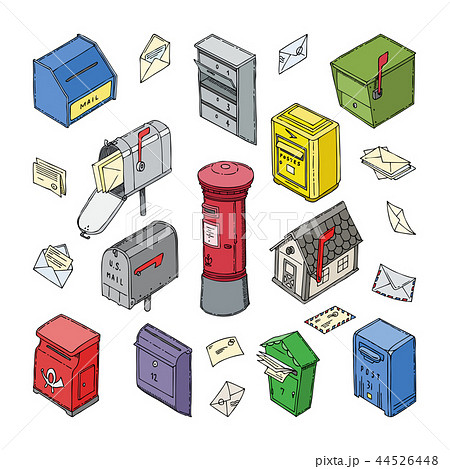 Mail box vector post mailbox or postal mailing letterbox with envelops illustration set of isometric 44526448