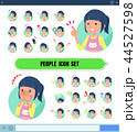 女性 アイコン 表情のイラスト 44527598