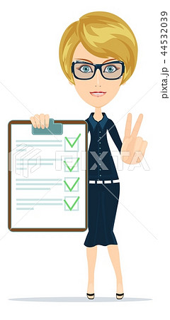 Woman in suit, manager or agent shows a document, insurance. 44532039