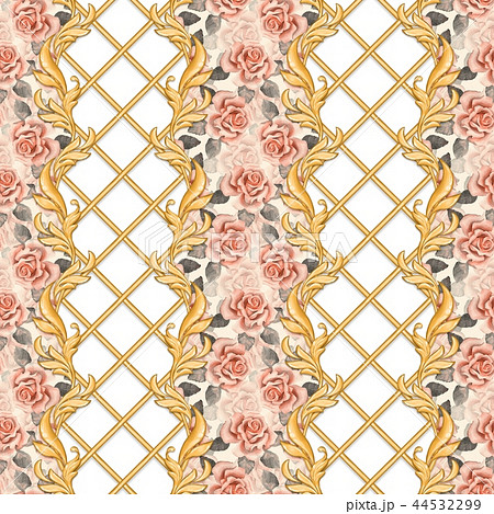 Golden baroque seamless pattern 3 44532299