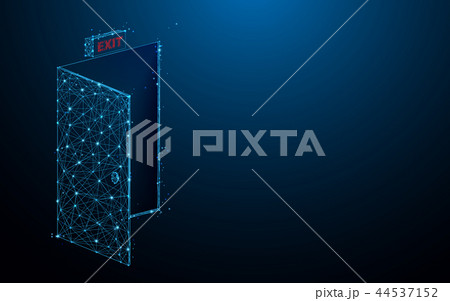 Emergency exit sign form lines and particle style 44537152