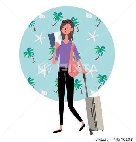 ハワイ 海外旅行 女性 イラスト 44540102