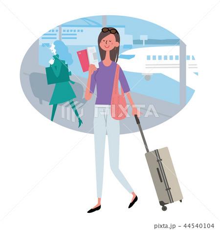 海外旅行 空港 女性 イラスト 44540104