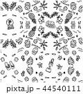 ハワイ シームレス パターン モノクロ 44540111