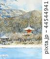 京都 大覚寺雪景色のスケッチ 44544941