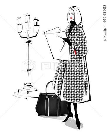 街灯と女性 千鳥格子のコート 44545982