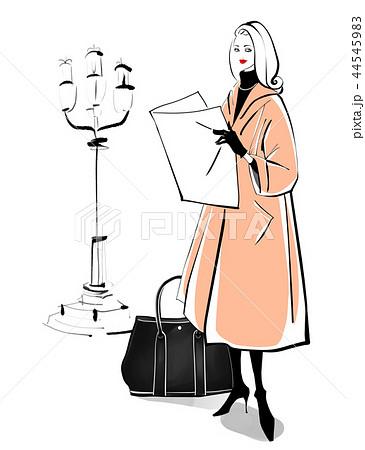 街灯と女性 ベージュのコート 44545983