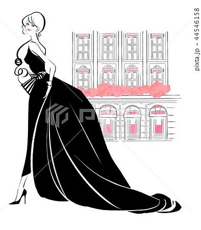 夜会ドレスと街 黒ドレス 44546158